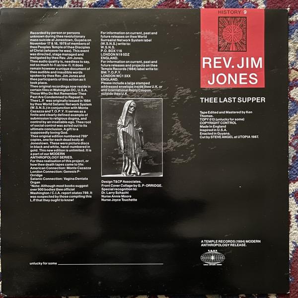 REV. JIM JONES Thee Last Supper (Temple - UK 1987 reissue) (VG+) LP