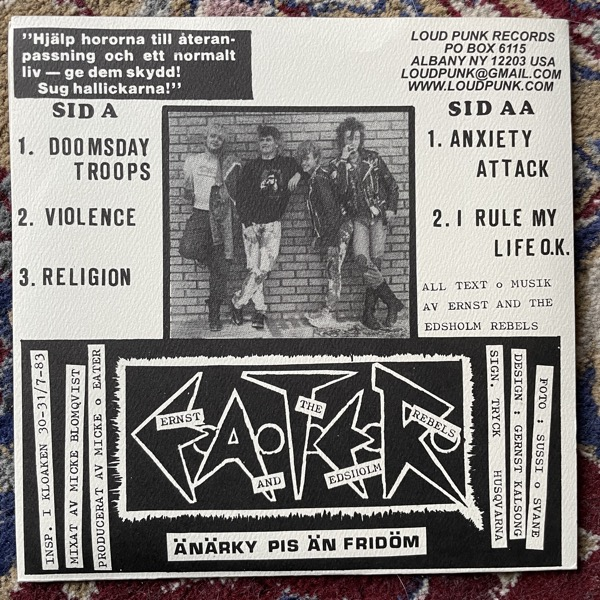 "ERNST AND THE EDSHOLM REBELS Doomsday Troops - 5-Spårs E.P. (Loud Punk - USA 2013 reissue) (EX) 7"""