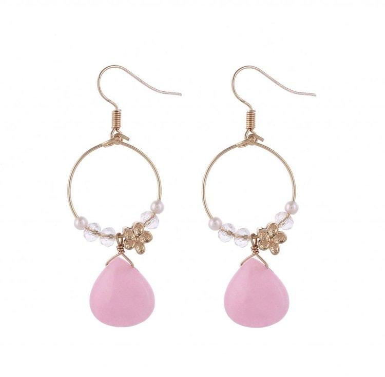 Vårfina örhängen i turkost eller rosa