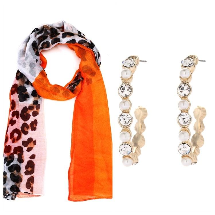 Leopardsjal i orange toner