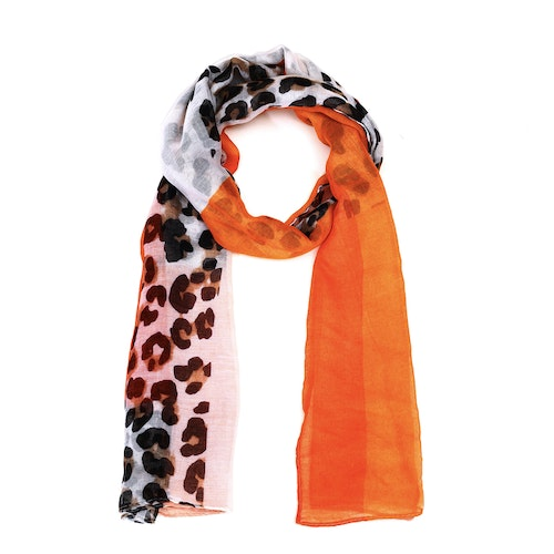 Leopardsjal i orange toner