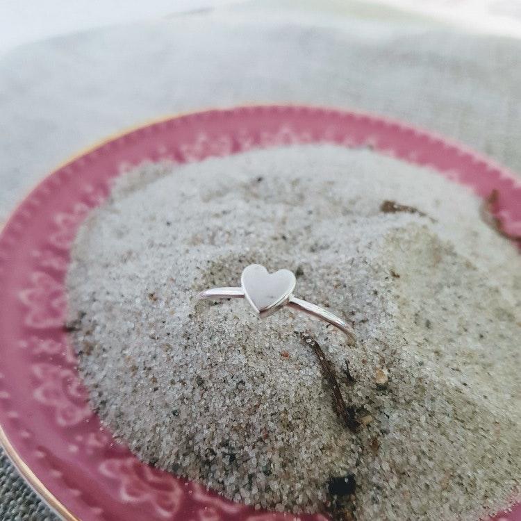 Silverring med hjärta i äkta silver