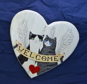 Angel Kitty Welcome Sign