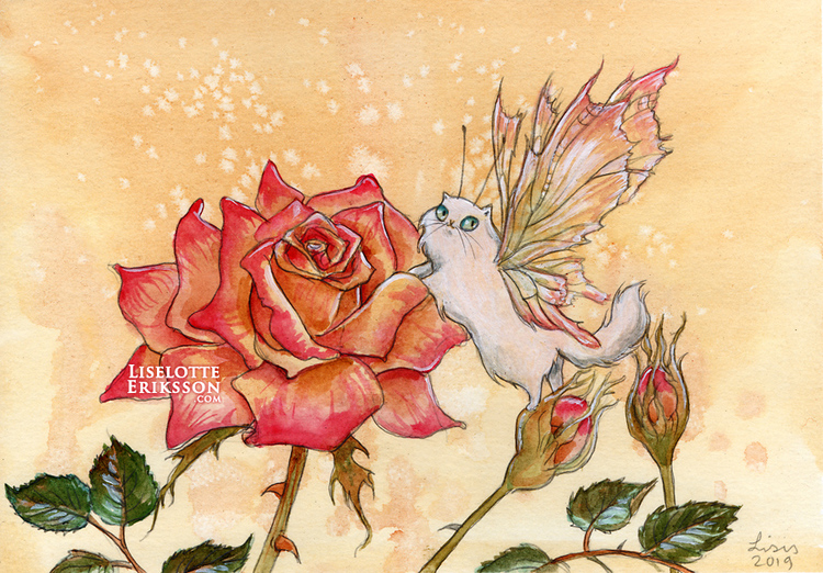 'Rose Kitten' Original Painting