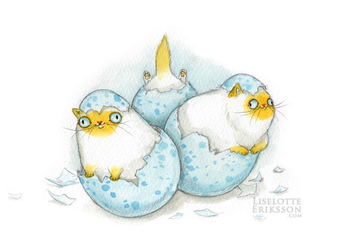 'Cat Eggs' Original Painting
