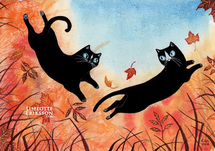 'Autumn Kitties' Original Painting