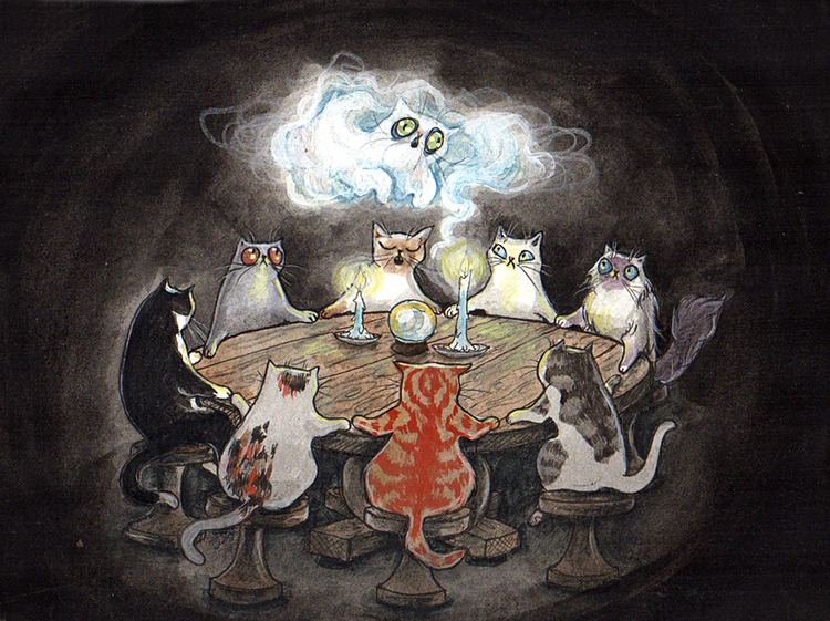'Calling the Spirits Of Kitties Past' Original Painting