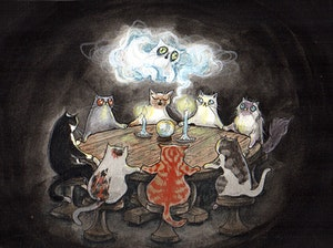 'Calling the Spirits Of Kitties Past' Original Painting