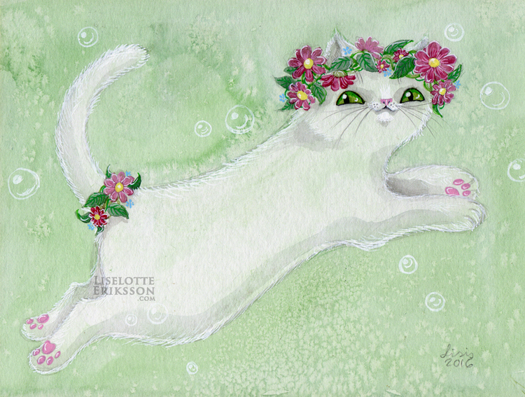 'Flower Kitty' Print
