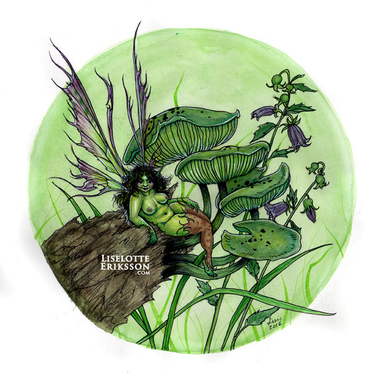 'Green Mushrooms' Print
