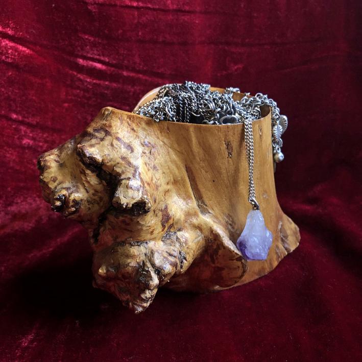 Unique Wood Bur Trinket Bowl