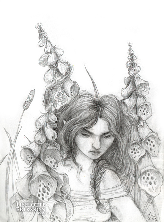 'Foxglove Tangle' Original Drawing