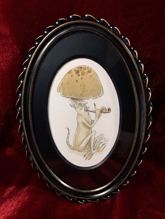 'Fungus Flutist' Original Framed Illustration