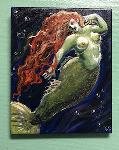 'Red Hair, Blue Sea' original painting on canvas