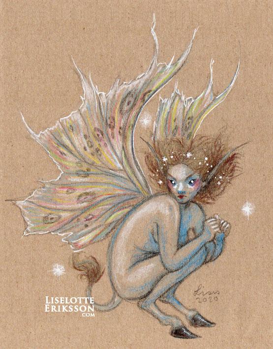 'Blue Hoofed Faery' Original Drawing