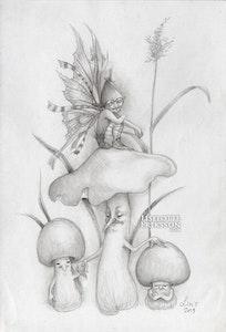 'Mushroom Pixie' Original Drawing