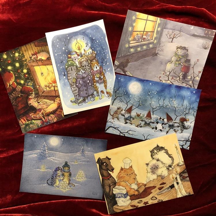 Set of 6 kitty Christmas cards