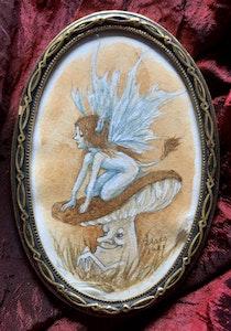 'Pixie on a Mushroom' Original Framed Painting