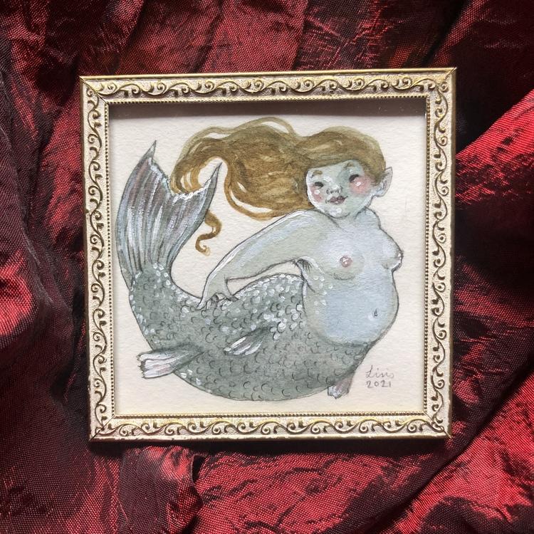 'Happy Mermaid' Original Framed Painting