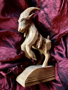 Large Hand Carved Goat