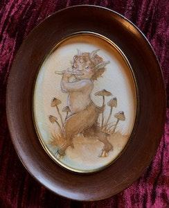 'Gold Hoofed Faun' Original Framed Painting