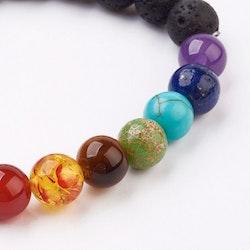 Armband med lavapärlor / chakra