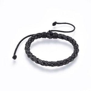 Flätat Justerbart läder armband  svart
