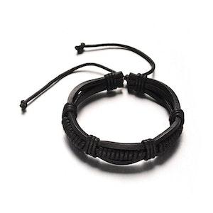 Justerbart läder armband svart