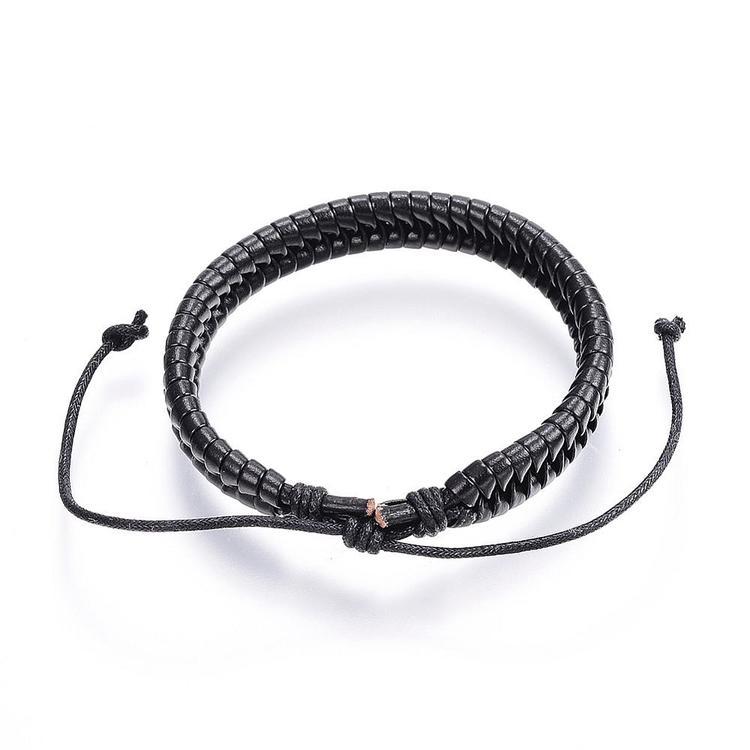 Tvinnat Justerbart läder armband  svart
