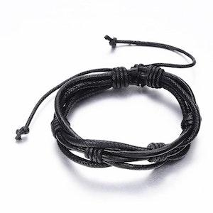 Justerbart läder + vaxad nylon armband  svart