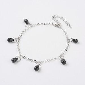 Fotlänk med facetterade pärlor svart agat