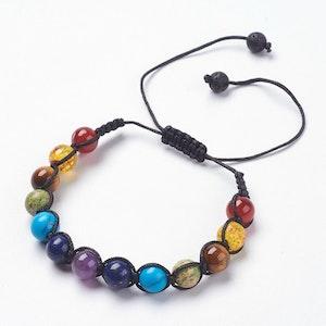Justerbart Armband med lavapärlor / chakra