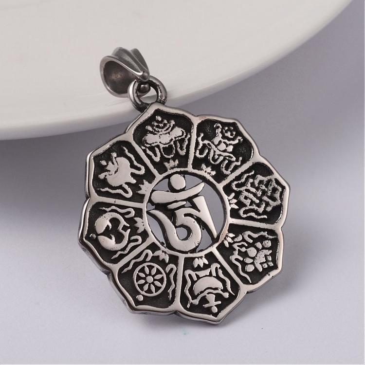 Berlock Chakra ink halskedja rostfritt stål