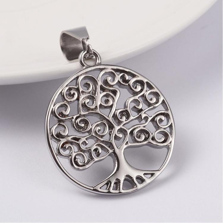 Berlock Tree of life ink halskedja rostfritt stål