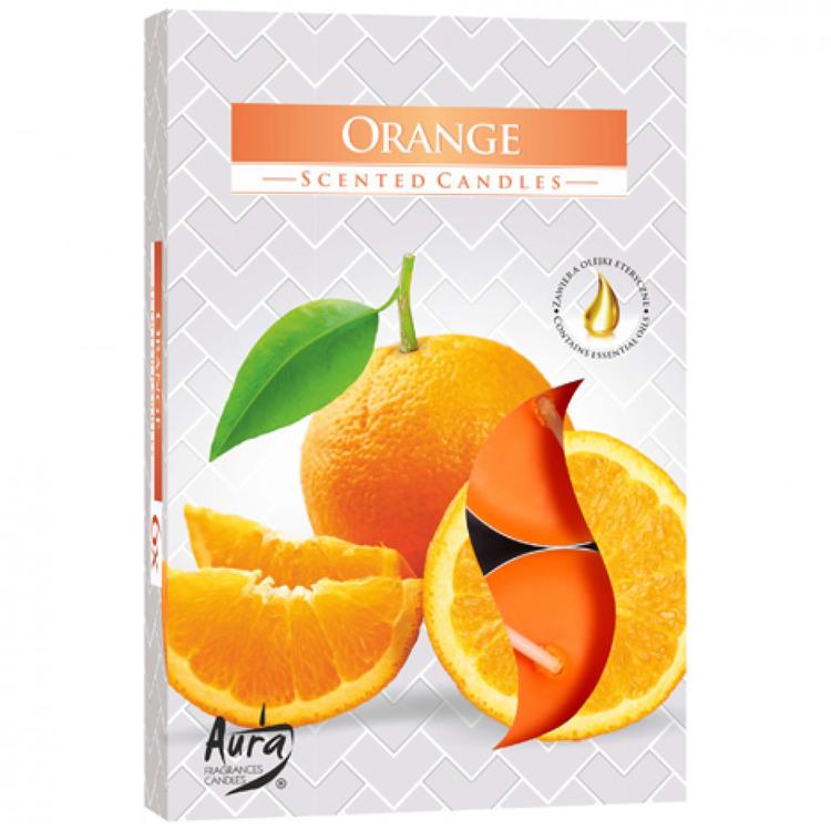 Värmeljus med doft 6-pack, Apelsin
