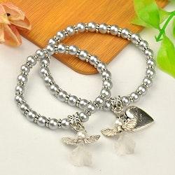 2 st Armband med skyddsängel , silver