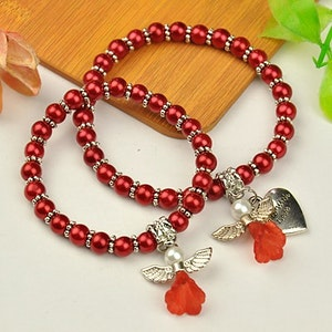 Armband med skyddsängel , röd