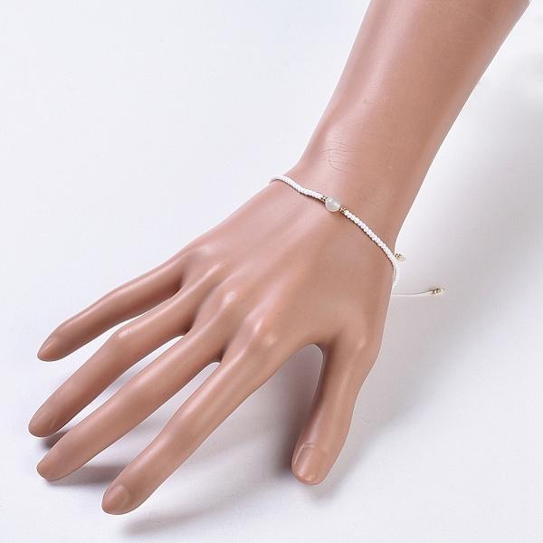 Justerbart armband Månsten & seedspärlor