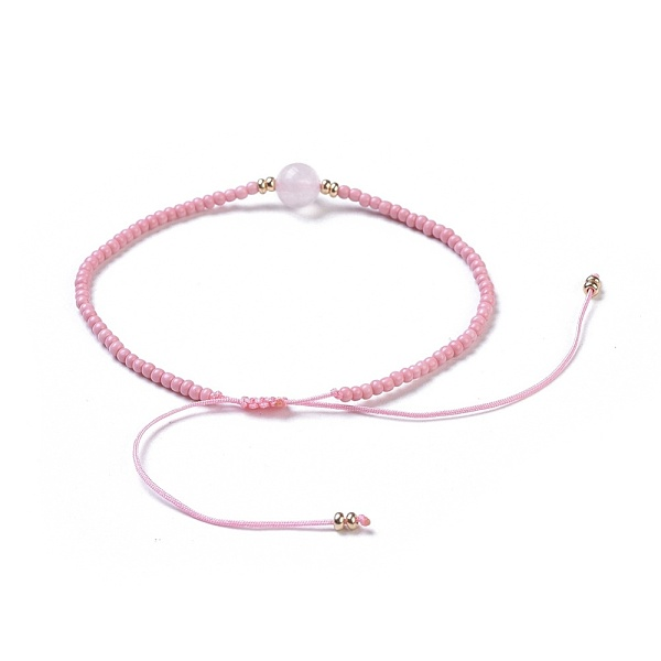 Justerbart armband Rosenkvarts & seedspärlor