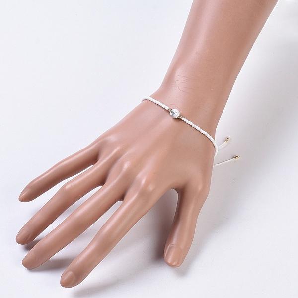 Justerbart armband Howlite & seedspärlor