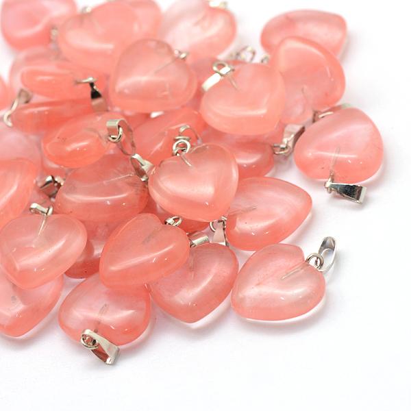 Hjärta Cherry quarts ink halskedja
