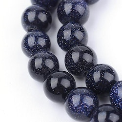 Pärlor Blue goldstone 6mm