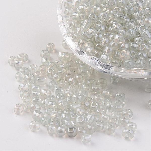 Seeds pärlor 4 mm, 50 gram, genomskinlig / vit, I LAGER MAJ