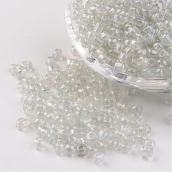 Seeds pärlor 4 mm, 50 gram, genomskinlig / vit