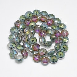 Stora facetterade glaspärlor, grön/blå, perfekt till tex solfångare