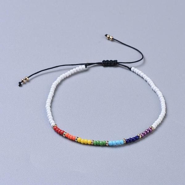 Vit Justerbart armband, Chakra & seedspärlor