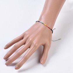 Svart Justerbart armband, Chakra & seedspärlor, I LAGER FEB