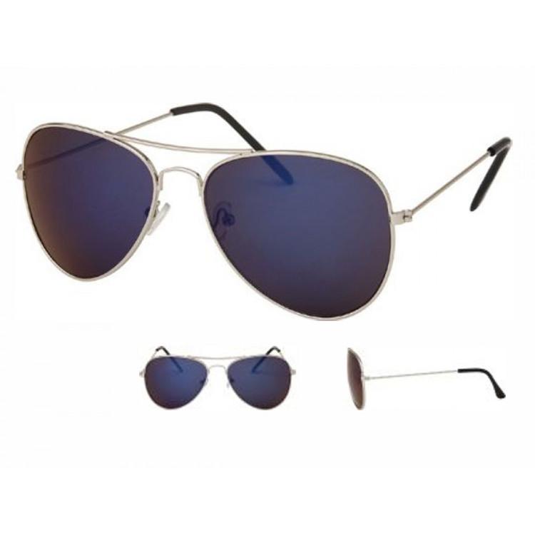 Solglasögon, Pilot , Unisex, speglad mörkblå