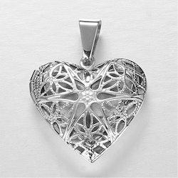 Hjärta, öppningsbart, ink halskedja rostfritt stål