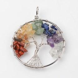 "Stor Berlock "" Tree of life "", Chakra, ink halskedja"